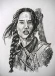 Katniss Hunger Games, Jennifer Lawrence Charcoal by LorraineKelly