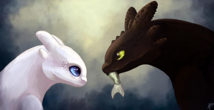 Toothless and the white fury - HTTYD 3 by Dracarian