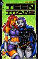 Starfire + Raven toon sketch cover by gb2k