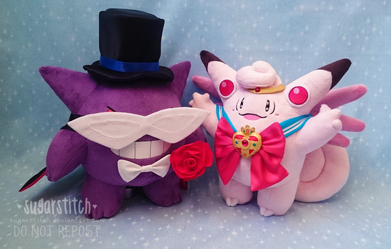 Pokemon: Sailor Clefable and Tuxedo Gengar by sugarstitch