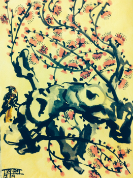Plum Composition #2, sumi ink and watercolor, 2016 by EkashmaDas