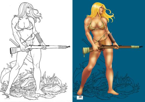 Coloring Exercise - Shannah by Frank Cho by carlosandisabel