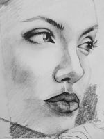 Angelina Jolie drawing by ProfessorPicasso
