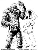 #INKtober 6: Creature from the Black Lagoon by AxelMedellin