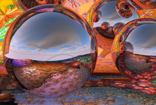Reflective spheres in a fractal environment 3 by PatrickKarlsson
