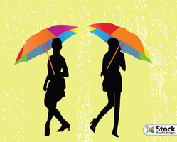 Girls with Umbrella Walking in the Rain Vector by Stockgraphicdesigns