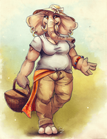 Elephant Stroll - Sketch by TasDraws