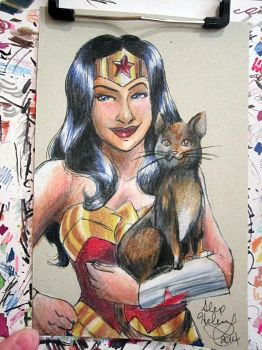 Wonder Woman + Kitty Sketch Card by alex-heberling