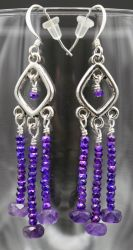 Earrings: amethyst and glass by LissaMonster
