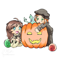 Audi: Halloween Chibi CherBear + Milotic -color- by mscherbear