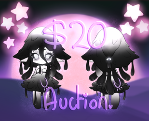 SOLD | Adoptable | Black Ink MushroomGirl - $20 SB by Nykun