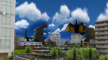 Attack of the Three Giant Monsters by KeyofValor