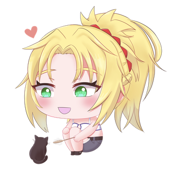 Chibi Mordred With a Kitten by Seraphinae
