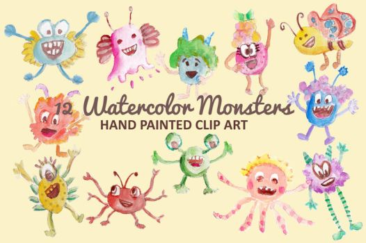 Watercolor Monsters Clip Art by GraphicIdentity
