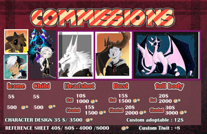 Commission Price sheet 2018 [Revised price] by Savage-Mojo