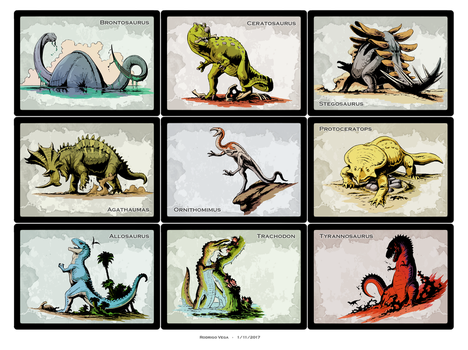 Retro Dino Cards by Rodrigo-Vega