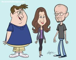 More Ricky Gervais Show character designs by DeJarnette