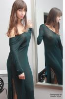 Emelie in green dress 5 by PhotographyThomasKru