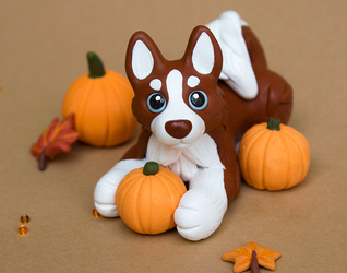 Husky puppy with pumpkins sculpture by SculptedPups