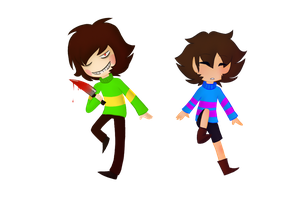 Undertale - Chara and Frisk by ZorDrawer