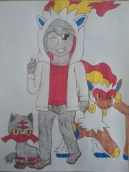 Will, Infernape and Litten by Pachigirl1