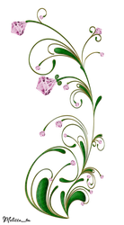 green swirl with pink gems png by Melissa-tm