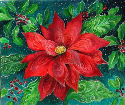 Poinsettia by cqillustration1111