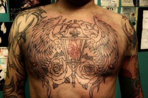 Chest piece outline. WIP by Nevermore-Ink
