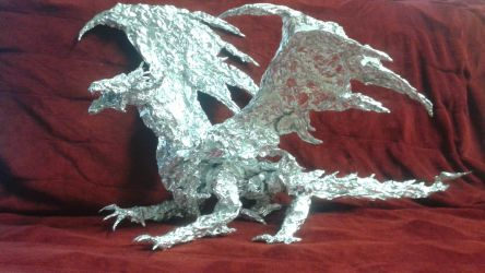 Ancalagon the Black - Aluminum Foil Sculpture by TheFoilGuy