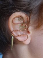 Steampunk wire wrapped ear cuff by Hiddendemon-666