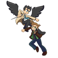 Dean and Cas by PhantomPhoenix4