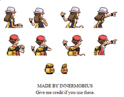Red and Green Backsprites HGSS style by InnerMobius