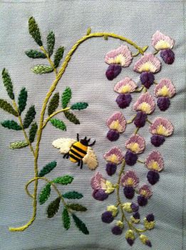 wisteria design embroidery sample for next work by m-masadonna