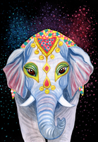 Indian Holi Elephant Watercolor Acrylic Painting by LoVeras