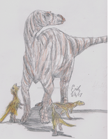 Maiasaura peeblesorum with Hatchlings by Lord-Triceratops