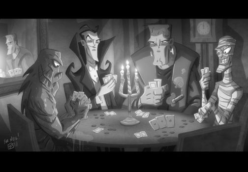 Monsters Playing Poker by OtisFrampton