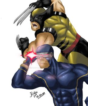 Wolverine and Cyclops by tcprophet