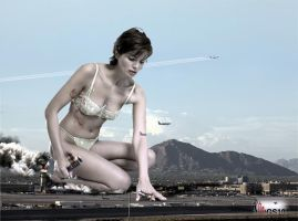 Giantess Myrthe Sourire - Phoenix Airport Cuisine by GiantessStudios101