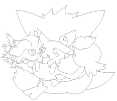 group pokemon lineart3 by michy123