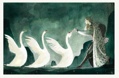 Tuor and the swans by Eirwen980