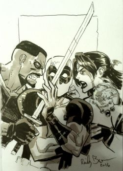 Deadpool vs Blade vs Shiklah by ReillyBrown