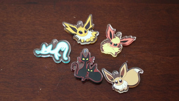 Charms: Eevee, Jolteon, Flareon, Spooky Cat by Miss-Mal