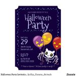 Custom Halloween Party Invitation Bat Skeleton by KazFoxsen