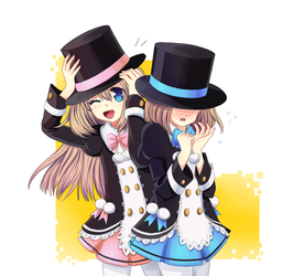 [Commission] Rom and Ram (Hyperdimension Neptunia) by 0les-x