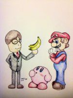 Mr. Iwata and those bananas by OuterBlueFox2