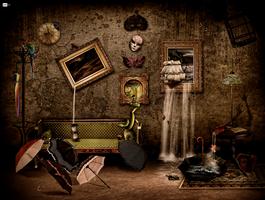 chaotic mysterious room by paujas