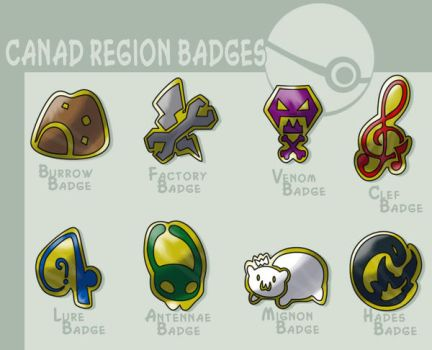 Canad gym badges by G-FauxPokemon
