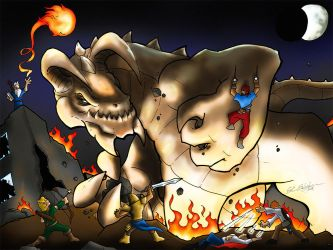 Tarrasque attack! by Baron-Nutsnboltz