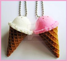 Vanilla Strawberry Necklaces by cherryboop