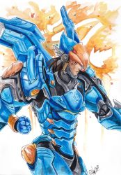 [OW] Watercolor project - Pharah by HanzuKing